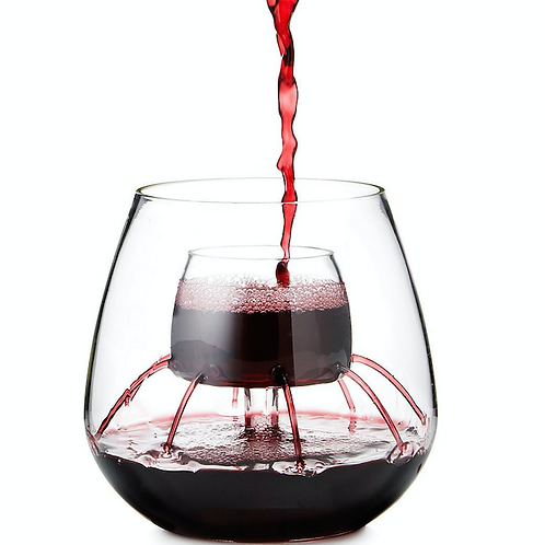 STEMLESS FOUNTAIN AERATING WINE GLASS-  SET OF 2