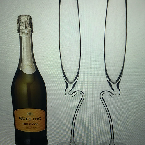CURVED CHAMPAGNE GLASS – SET OF 2 – THE ART OF GLASS