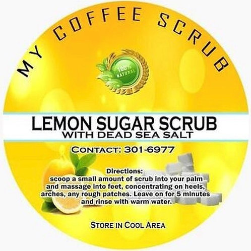 Lemon Sugar Scrub with dead sea salt - ALL Organic 12oz