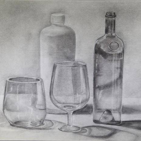 Four Bottles Still Life