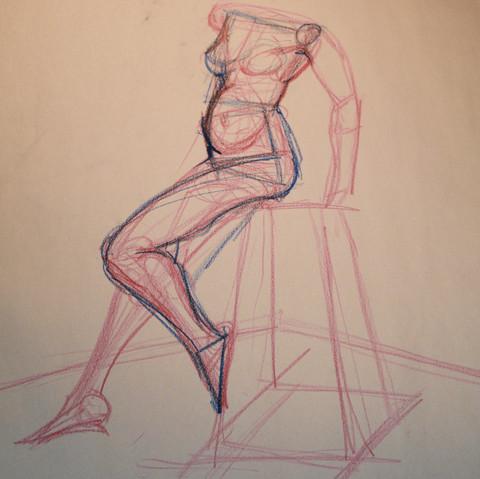 Figure Drawing On Stool