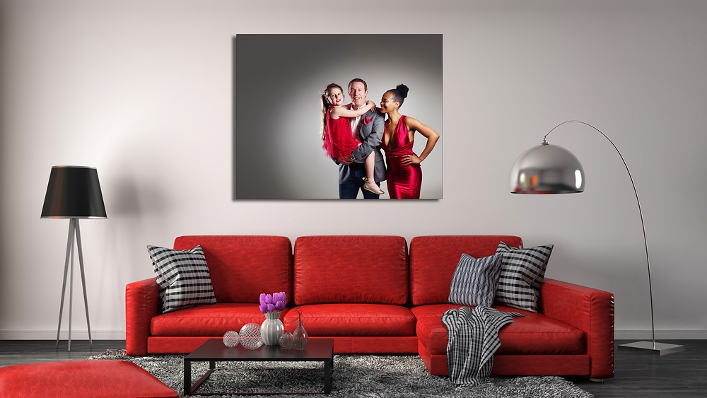 Red room scene with frameless artwork from clifton photographic