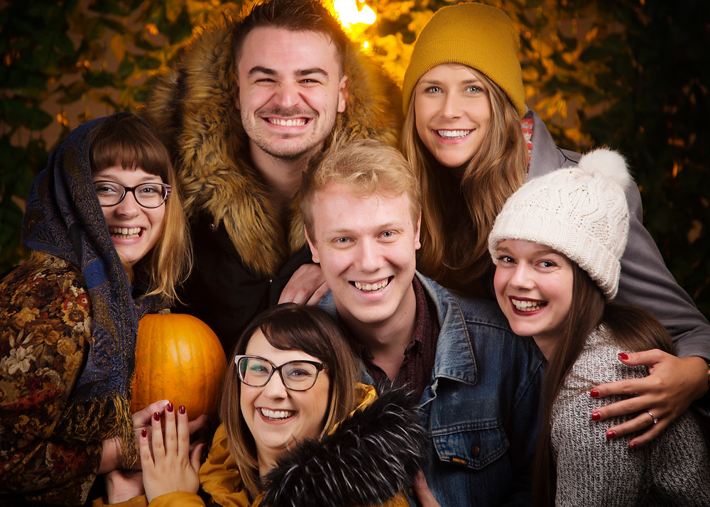 Professional group portrait with autumn colours