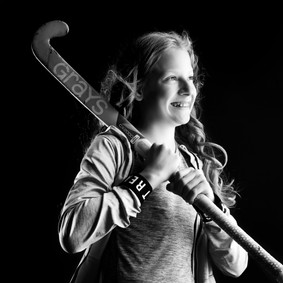 Hockey stick portrait by Clifton Photographic