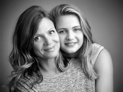 black and white portrait of mother and daughter by Clifton Photographic