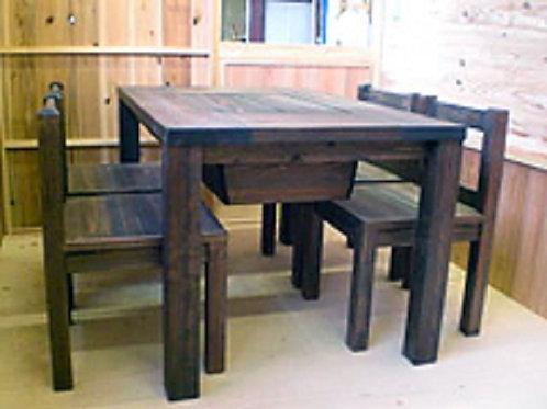 囲炉裏テーブルと木製椅子の5点セット