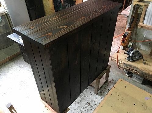 木製手作りキッチンカウンターテーブル ブラウン 斜め模様 ゆき工房オリジナル