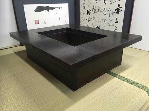 タモ材 長方形囲炉裏テーブル 5点セット【 灰 五徳 酒燗器 徳利】