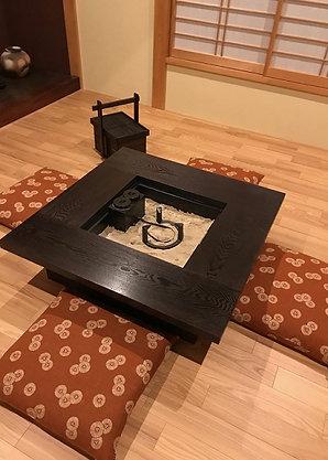 タモ材 正方形 囲炉裏テーブル4点セット【 灰 五徳 酒燗器】