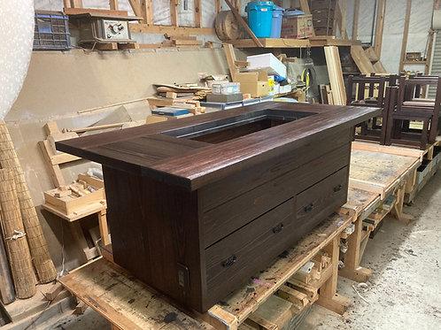 箱型囲炉裏テーブル1800x900 灰 五徳3点セット