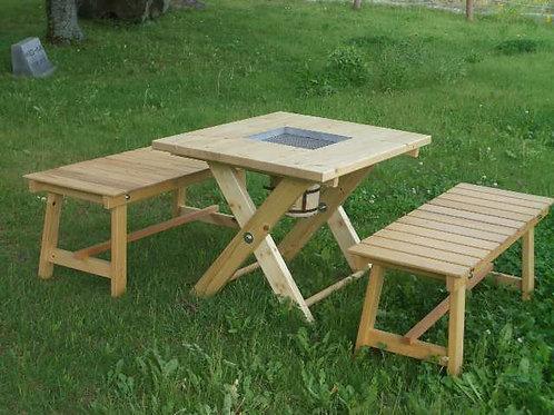 七輪バーベキューテーブルとベンチ椅子のセット