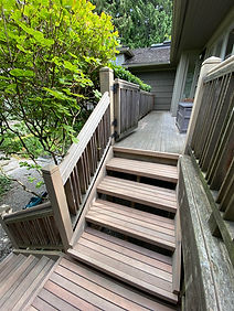 Cedar stairs with clear finish