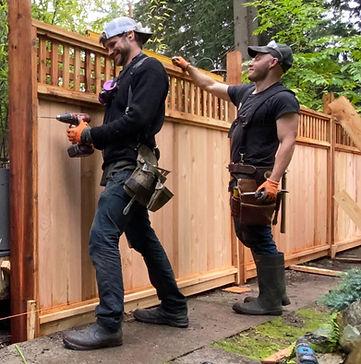 Carpenter building fence