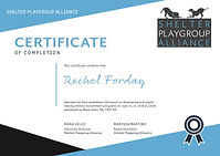 Shelter Playgroup Alliance Workshop Certificate
