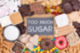 Food containing too much sugar. Sugar in