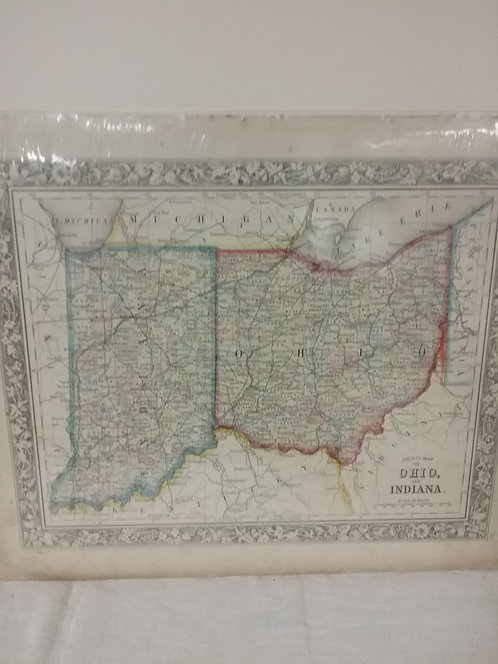 Map of Ohio and Indiana