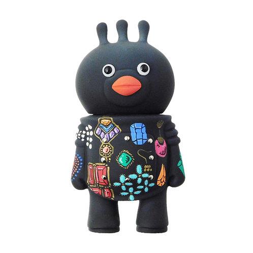 《Hatsutorin》ソフビフィギュア「フンフン」ジュエルスRAVELコラボモデル※ブラック