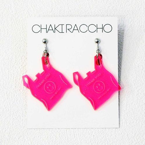 《CHAKIRACCHO》レジ袋ピアス/イヤリング※ピンク