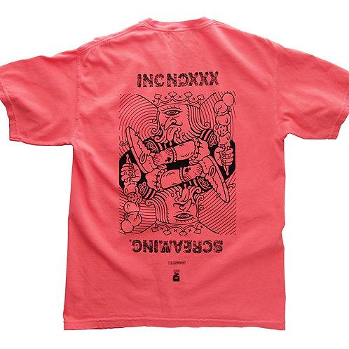 《INC NOXXX SCREAMING》KING GLUTTON pocket T-shirt / NEON RED ORANGE