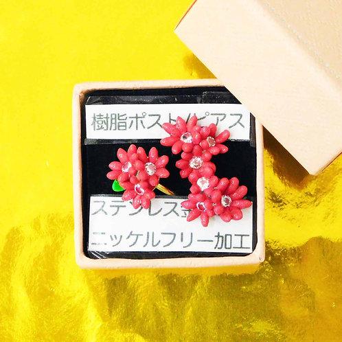 《ameiro》アレルギー対応赤いお花ピアス/イヤリングとリングのセット