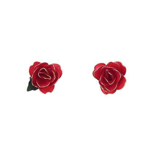 《inori》ワイヤーアートの赤薔薇ピアス/イヤリング