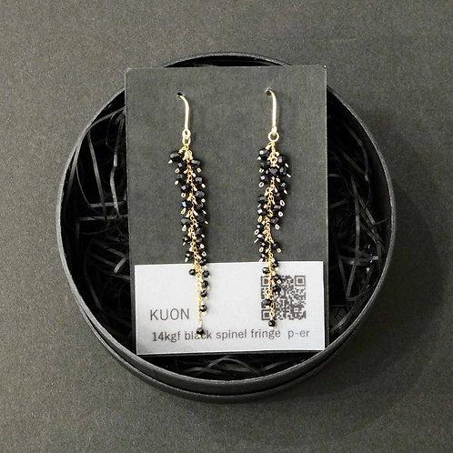 《KUON》black spinel fringe ピアス/イヤリング※送料無料