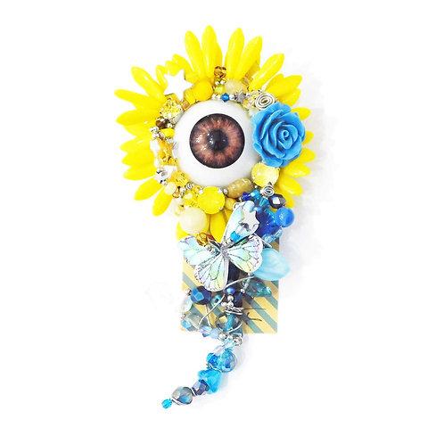 《Kumanouno.lab》Lock on Flowerブローチ/yellow