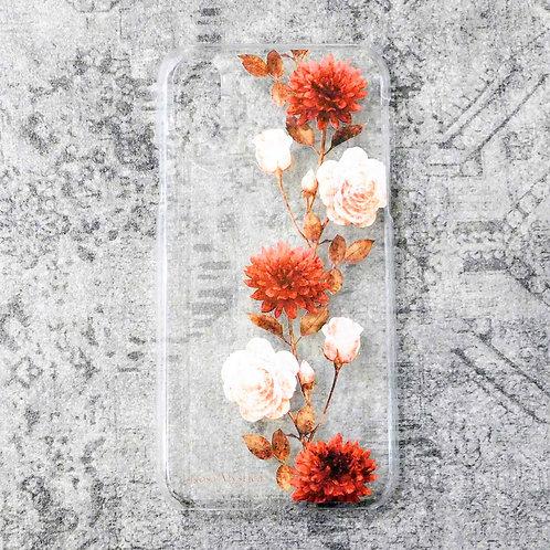 《Rosa Mystica》i-phoneクリアケース/レッドダリア&ローズ※各機種対応