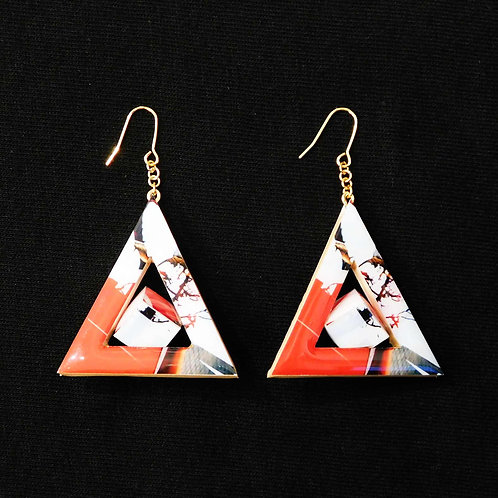 《Re:flection》Triangle Cubeピアス/イヤリング※レッド