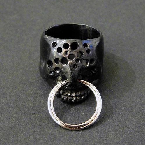 《Farimu》hole skull ring black/16-17号※送料無料