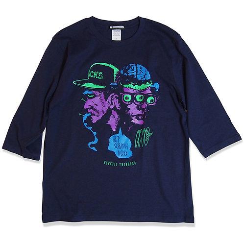 "《INC NOXXX SCREAMING》""TWINHEAD FRANKⅡ"" half sleeve T-shirt / NAVY"