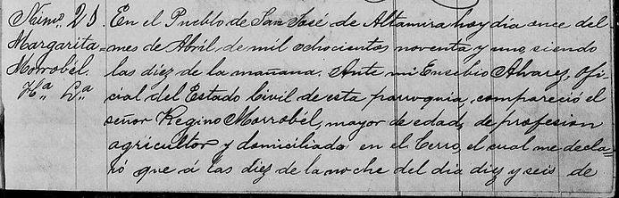 Acta de Registro de Margarita Morrobel 1