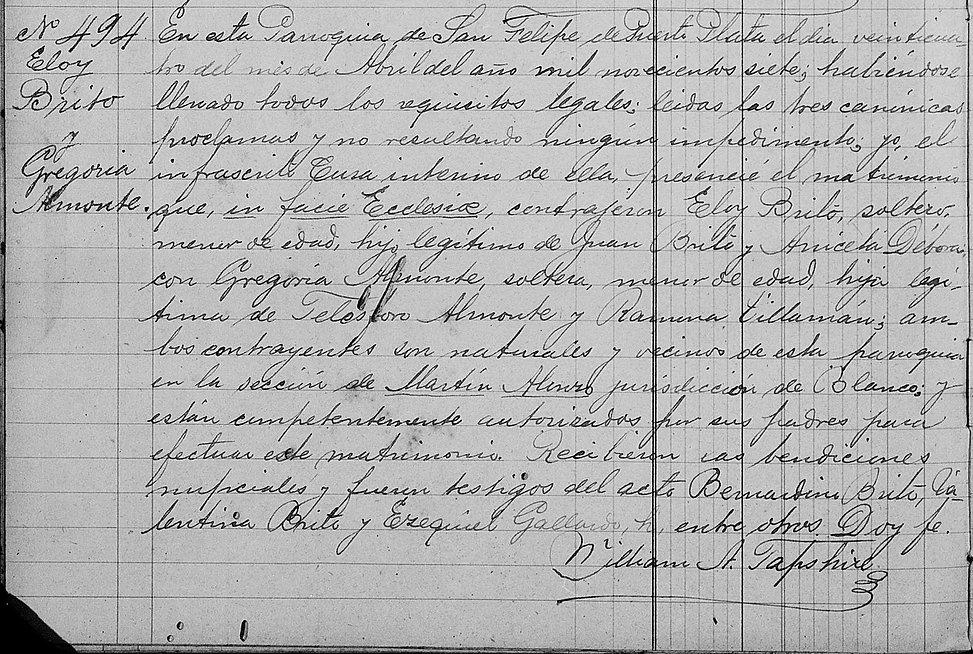 Acta de Matrimonio Eloy Brito y Gregoria