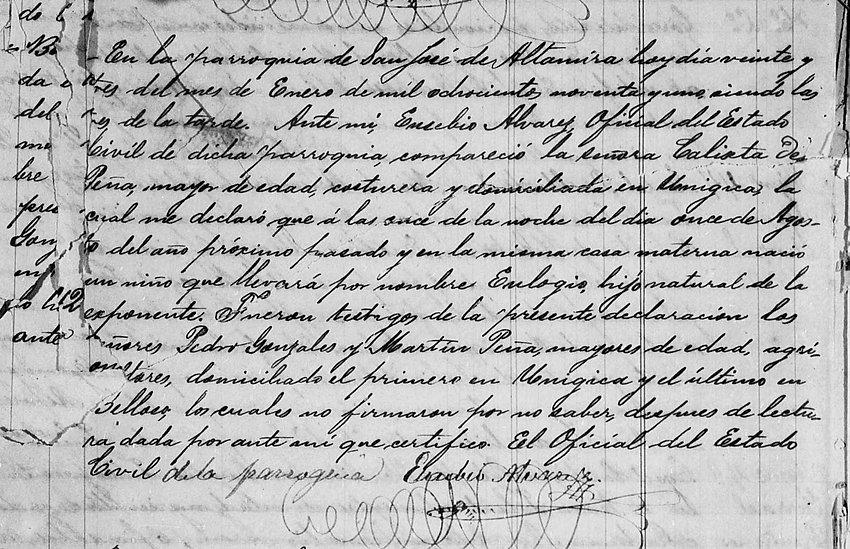 Acta de Registro Eulogio de Pena (nieto)