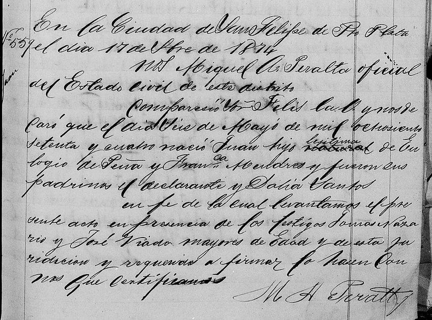 Acta de Registro de Juan de Pena Mendez.