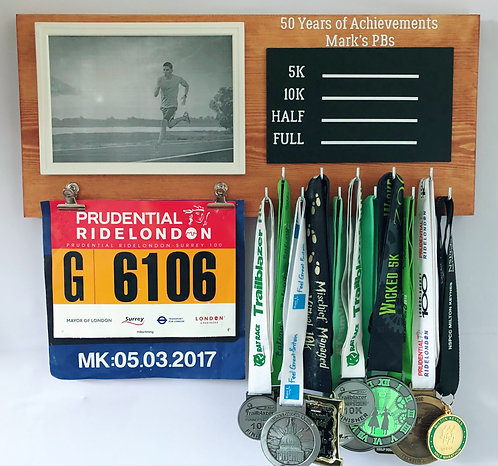 Medal hanger with frame and bib clips