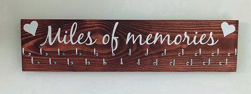 Miles of memories 25 hook Indian Rosewood stained medal hanger/display
