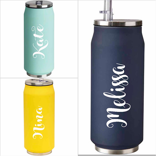 Personalised double wall flask, stainless steel tumbler