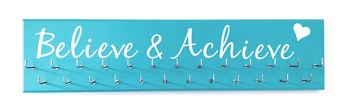 Believe & Achieve. Blue. Medium hanger 25 hooks
