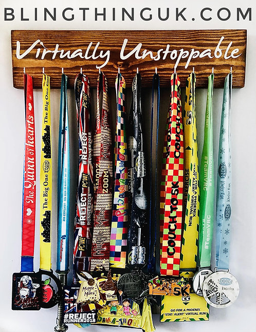 Virtually Unstoppable Virtual Race - 12 hook medal hanger