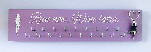 Run now, wine later with a heart bottle stopper - 25 hook medal hanger