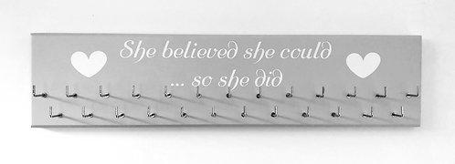 She believed she could... so she did. Grey. Medium hanger 25 hooks