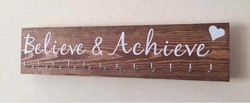 Believe & Achieve. Rosewood Medium Hanger 12 Hooks