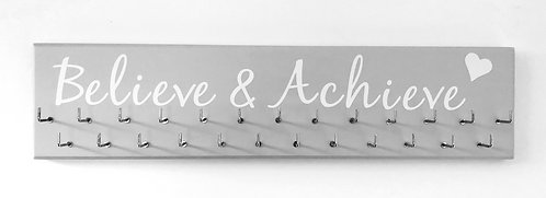 Believe & Achieve. Grey. Medium hanger 25 hooks