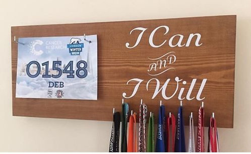 Natural Wood Stained Running Bib and medal hangers