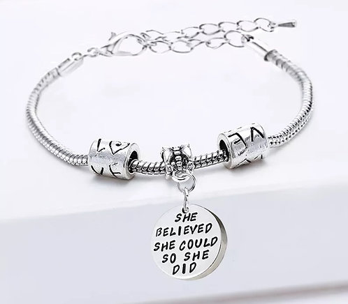 She believed she could so she did alloy bracelet
