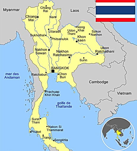 Thaïlande authentique. Carte Isan Surin.
