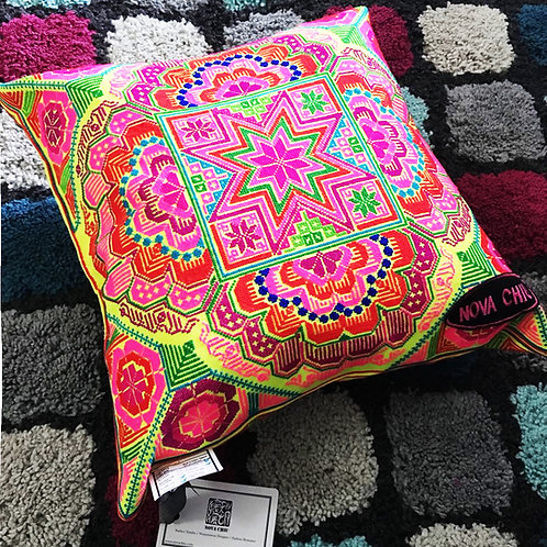 Neon Yellow Embroidery Cushion-Middle Size
