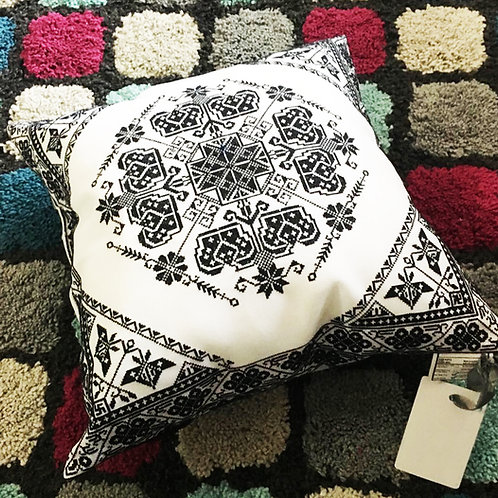 White Embroidery Cushion-Middle Size