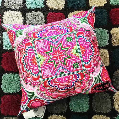 Pink Embroidery Cushion- Large Size